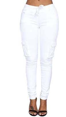 ABCWOO Womens Casual Stretch Pockets Drawstring Skinny Pants Cargo Jogger Pants