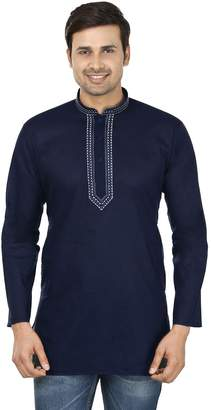 Off-White Maple Clothing Indian Clothing Fashion Mens Embroidered Short Kurta Cotton (Blue, XL)