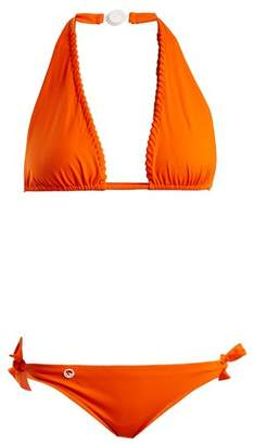 Fendi Lace Up Halterneck Tie Side Bikini Set - Womens - Orange