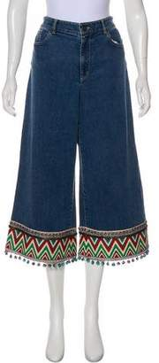 Alice + Olivia Embroidered Mid-Rise Jeans w/ Tags