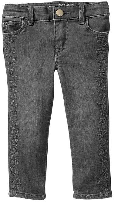Gap Gray embroidered skinny jeans
