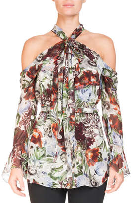 Erdem Surie Cold-Shoulder Halter Rose-Print Long-Sleeve Silk Blouse