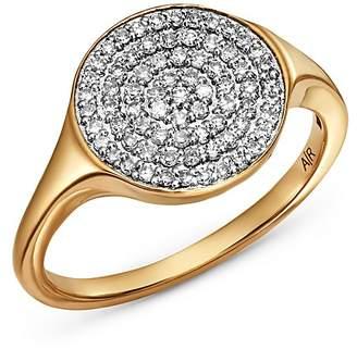Adina 14K Yellow Gold Pavé Diamond Extra Large Disc Signet Ring