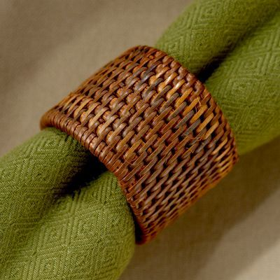 Pandan Basketweave Napkin Ring Set of 6