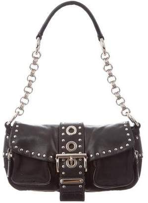 Prada Studded Tessuto & Leather Baguette
