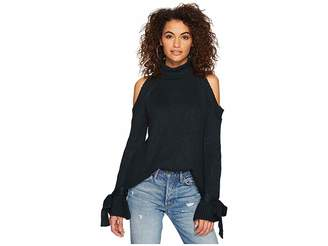 J.o.a. Cold Shoulder Tie Sleeve Sweater Women's Sweater