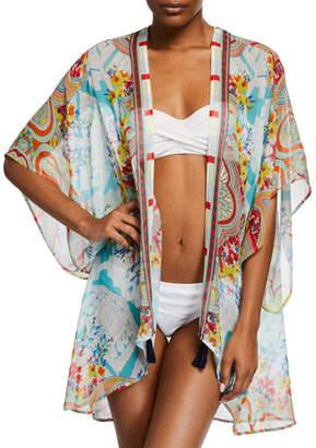 Johnny Was Plus Plus Size Regina Printed Silk Kimono Coverup