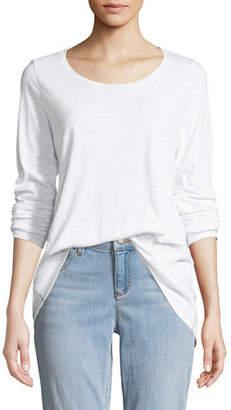 Eileen Fisher Slub Long-Sleeve Tunic Tee