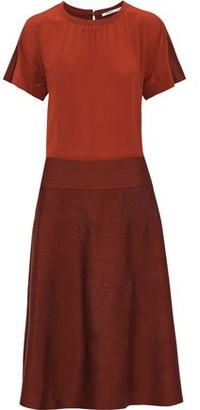 Agnona Silk Crepe De Chine And Knitted Midi Dress