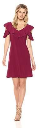 MSK Women's v-Neck Cold Shoulder Dress with Cutout on Sleeve