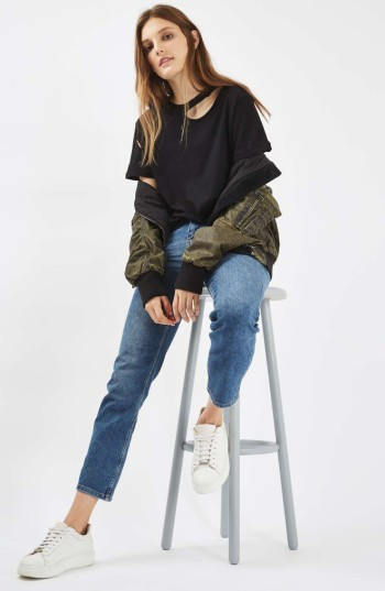 Women's Topshop Ripped Cotton Tee 2