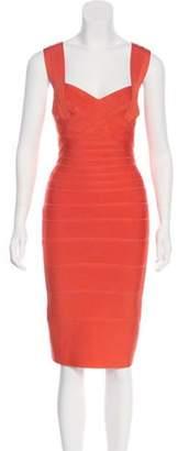 Herve Leger Knee-Length Bandage Dress Coral Knee-Length Bandage Dress
