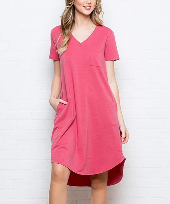 Coral Curved-Hem Side-Pocket T-Shirt Dress - Women & Plus