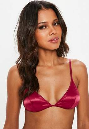 Missguided Wine Soft Satin Triangle Bra