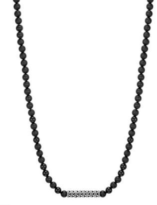 John Hardy Men's Classic Chain Sterling Silver Necklace with Onyx Beads