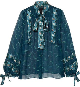 Anna Sui Cosmos Pussy-bow Printed Crinkled-chiffon Blouse - Teal