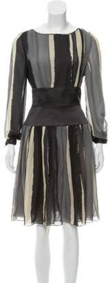 Bill Blass Silk Printed Dress Black Silk Printed Dress