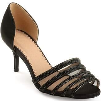 PeepToe Brinley Co. Womens Salem Satin D'orsay Peep-toe Rhinestone High Heels