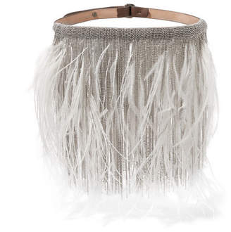 Brunello Cucinelli Feather, Silver-tone And Leather Choker