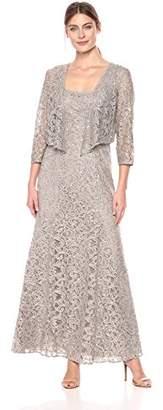 Alex Evenings Women's Long Gown Lace-Paneled Skirt Bolero Jacket