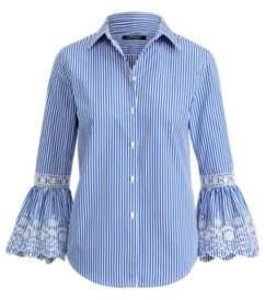 Ralph Lauren Eyelet-Cuff Striped Shirt Blue/White S