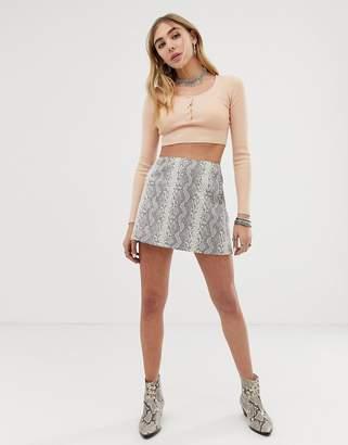 Honey Punch 90's Mini Skirt In Snake Print