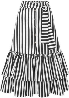 Caroline Constas Ruffled Striped Cotton-poplin Midi Skirt
