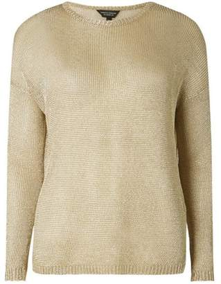 Dorothy Perkins Womens Gold Metallic Jumper
