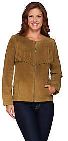 Denim & Co. Suede Zip Front Jacket with FringeDetail
