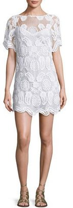 Miguelina Grace Crochet-Overlay Coverup Dress, Pure White $450 thestylecure.com