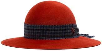 Maison Michel Burnt Orange New Alice scarf detail suede hat