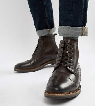 Base London Wide Fit Hockney lace up boots in brown