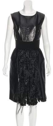 Alberta Ferretti Feather-Trimmed Silk Dress w/ Tags