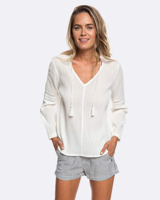 Roxy Womens Balinese Discover Tasseled Blouse Top
