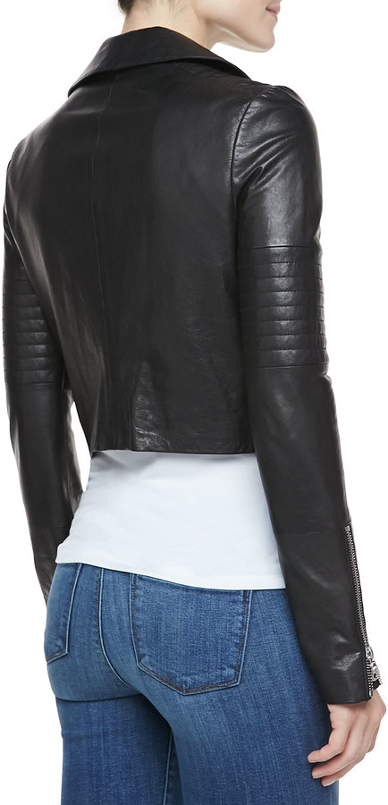 J Brand Ready to Wear Aiah Cropped Leather Jacket