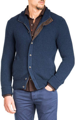 Isaia Cashmere Luxe Jacket with Suede Trim
