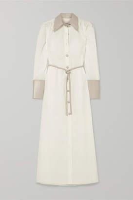 Nanushka Yoon Vegan Leather-trimmed Cotton-poplin Shirt Dress - White