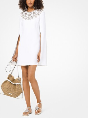 Michael Kors Embroidered Double Crepe-Sable Cape Dress