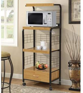 Home Source Black Metal Microwave Kitchen Cart Frank