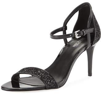 MICHAEL Michael Kors Simone Glitter & Faux-Patent Mid-Heel Sandals