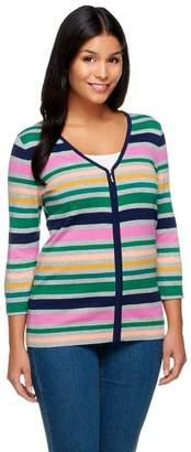 Liz Claiborne New York Multi-Stripe Zip Front Cardigan