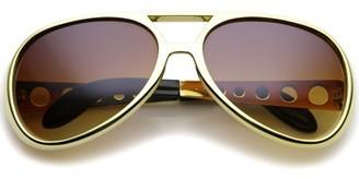 sunglassLA Large Elvis King Of Rock & Roll Aviator Sunglasses 63mm (Gold / Amber)