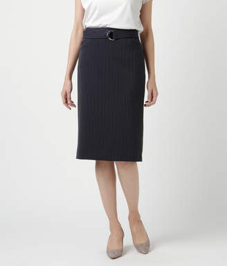 NEWYORKER women's 【クリアランスセール】【ウォッシャブル】プルエラストレッチラチネダブルストライプ ストレートスカート