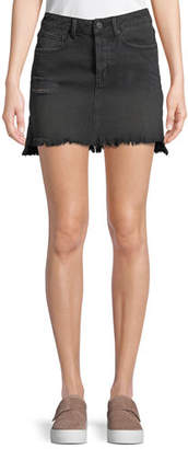 KENDALL + KYLIE Destroyed Flounce Denim Mini Skirt