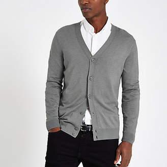 River Island Mens Grey V neck button-down cardigan