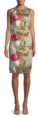 Calvin Klein Knee-Length Floral Embroidered Dress
