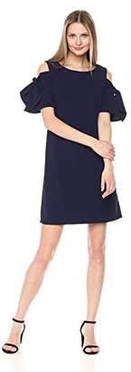 Ronni Nicole Women's Cold Shoulder Tie Sleeve Solid Shift