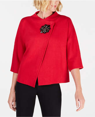 JM Collection Wrap-Front Brooch Blazer