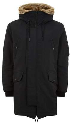 Topman Mens Black Fur Lined Parka