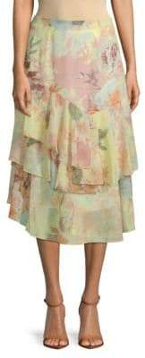 Vince Camuto Faded Blooms Tiered Skirt